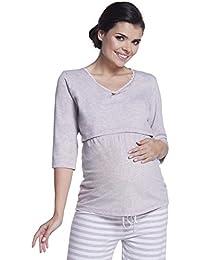 Zeta Ville - Premamá pijama de lactancia estampado de rayas - para mujer - 394c