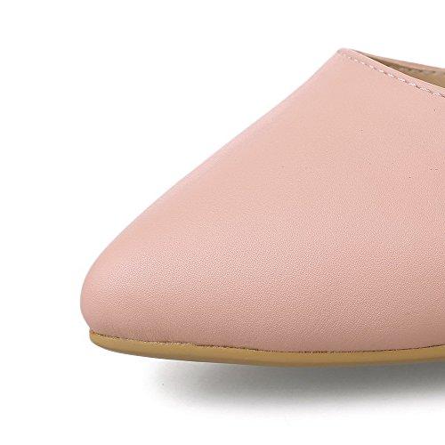 VogueZone009 Femme Stylet Couleur Unie Boucle Matière Mélangee Pointu Chaussures Légeres Rose