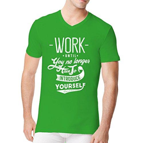 Fun Sprüche Männer V-Neck Shirt - Work - Introduce yourself by Im-Shirt Kelly Green