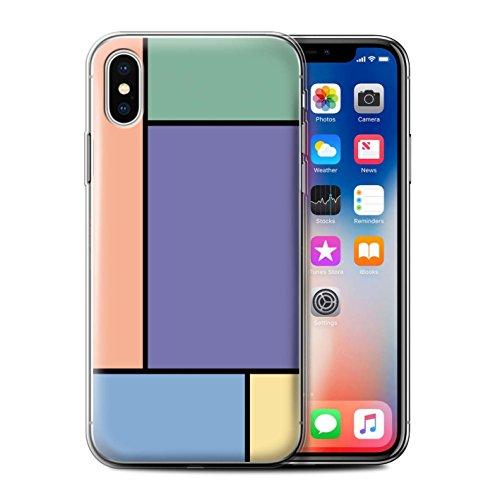 Stuff4 Gel TPU Hülle / Case für Apple iPhone X/10 / 3 Fliesen/Rosa Muster / Pastell Fliesen Kollektion 5 Fliesen/Lila
