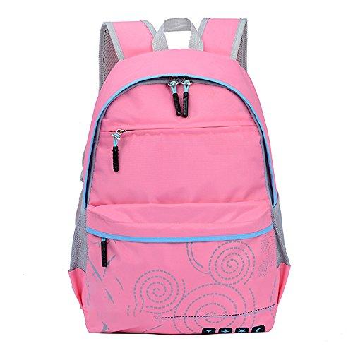 BOZEVON Jungen Mädchen Wasserdichte Rucksack für Kinder Unisex Schulrucksäcke Rucksack für Reisen, Wandern Rosa