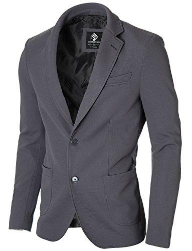 MODERNO Slim Fit Freizeit Baumwolle Herren Sakko Blazer (MOD14522B) Grau EU L