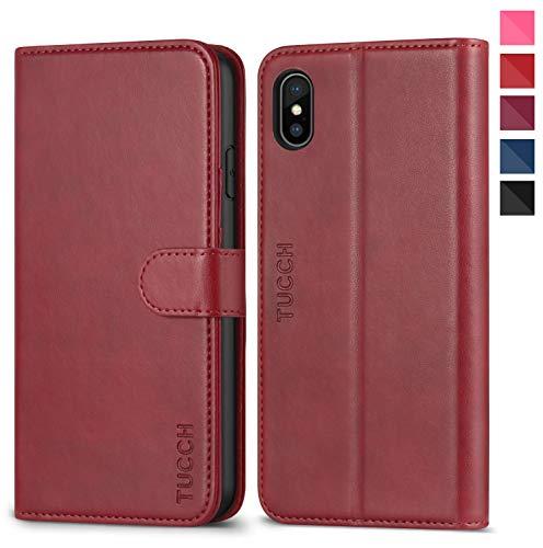 TUCCH iPhone XS Hülle Case TPU [Kabelloses Laden] Schutzhülle als [Brieftasche] Handyhülle Lederhülle RFID [Sleep/Wake Funktion] Kartenfach Magnet Kompatibel für iPhone XS Rot