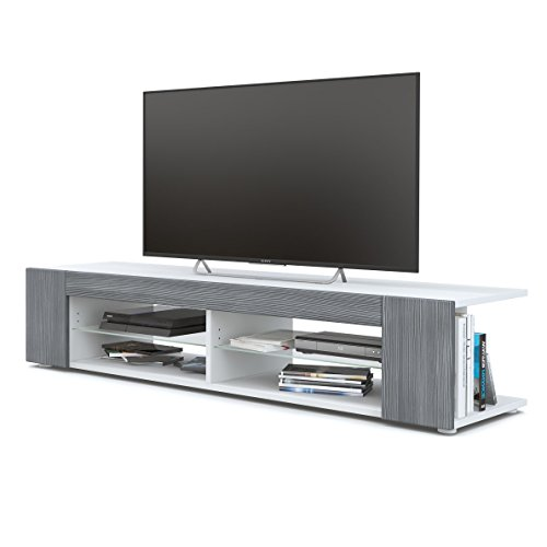 Meuble TV Armoire basse Movie, Corps en Blanc mat / Façades en Avola-Anthracite