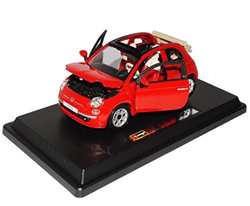 Fiat-500c-500-C-Cabrio-Rot-124-Bburago-Burago-Modellauto-Modell-Auto