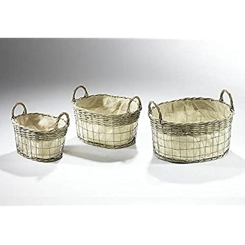 Wire basket with willow and textile oval S/3, 42x32x27 cm, Metal Sauce, Blanco Crema