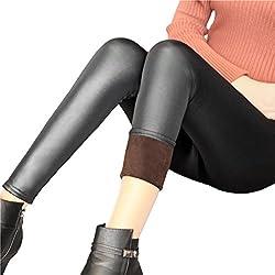 LUOEM Leggings Invierno cálidos PU Leggins Cuero Skinny Elásticos Pantalones Leggings de Piel sintética para Mujeres
