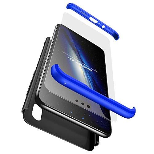 sigua Funda Compatible Xiaomi Mi A1, 3 in 1 Slim Fit Protectora Cover Caso Carcasa Choque Resistente 360 Grados Protección Ultra Slim Cubierta PC Hard Case + Cristal Templado,Azul & Negro