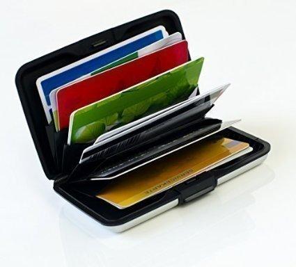 MaxBox – étui pour cartes de crédit en aluminium noir, étui de protection pour cartes de crédit RFID, étui en métal pour cartes de crédit, boite pour cartes EC