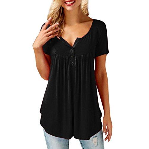 SANFASHION Débardeurs Femme Bouton Plier Tank Top Chic Ete Amincissant T-Shirt Élégant Haut Basique (M, Noir Manches Courtes)
