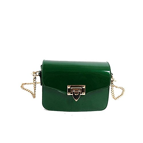 HQYSS Borse donna Catena regolabile casuale Donne Classic Vintage brevetto cuoio Shoulder Bag Messenger Bag , green green