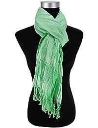 pañuelo en verde blanco a cuadros tamaño 200 cm x 50 cm - paño bufanda de algodón