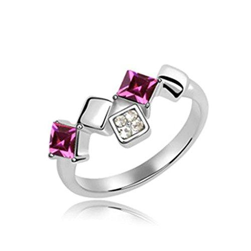 Epinki anello placcato oro per donna fedi nuziali rosa rosso scalatore linea piazza cubo cristallo anello misura 17