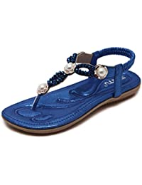 Zarupeng Frauen Perle Strass Bohemia Sandalen Sommer Freizeit Flach Schuhe Damen Zehentrenner Peep-Toe Outdoor-Schuhe