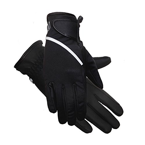 Riders Trend Damen Softshell Thinsulate gefüttert Wasserdicht Winter Equestrian Reithandschuhe XL Black/Grey Reflective Trim