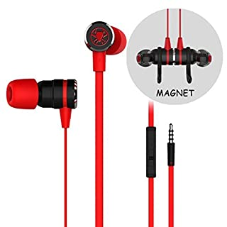 Gaming Earbuds, Noise Isolating Stereo Bass In Ear Headphones with Microphone 86 Inch Long Cord Extension Cable PC Adapter Magnetic Headset Earphones for Computer, iPhone, Samsung, Laptop, PSP - Red