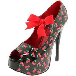 Pin Up Couture TEEZE-25-3 Blk Pat (Cherries Print)