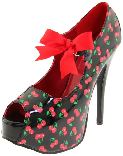 Pin Up Couture TEEZE-25-3 Blk Pat (Cherries Print) UK 6 (EU 39)