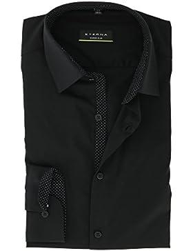 ETERNA Super Slim Langarmhemd Businesshemd aus Baumwolle Hemd Gr. 39 Schwarz - Bügelfrei