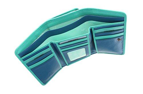 Visconti Rhodes collezione Prada donna in pelle Borsa Tri-Fold RD91 Teal/Aqua Teal/Aqua