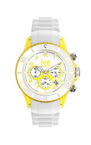ICE-Watch Chrono Party Unisex Quartz Watch with White Dial Time Teacher Display and White Silicone Bracelet CH.WYW.U.S.13