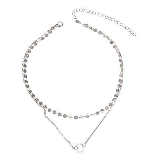 manerson Disc Halsreif Ring Anhänger Halskette (Silber)