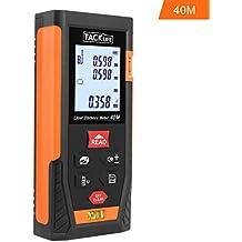 Tacklife HD 40m Telémetro láser con rango distancia de medida 0.05 ~ 40m /±2mm, pantalla retroiluminada LCD con 2burbujas de nivel Medidor Láser con función silencio y rápida velocidad de medición