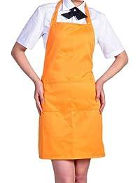 Tablier Cuisine Simple Avec Poche Avant Chefs Bouchers Artisanale UK Cuisson (Orange)