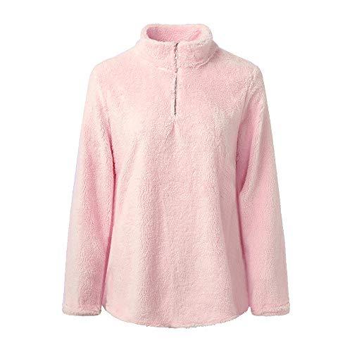 iHENGH Damen Tops,Women Lange ÄRmel Tops Winter Warm Bluse Sweatshirt ReißVerschluss Fleece-Pullover Top Crop Shirt
