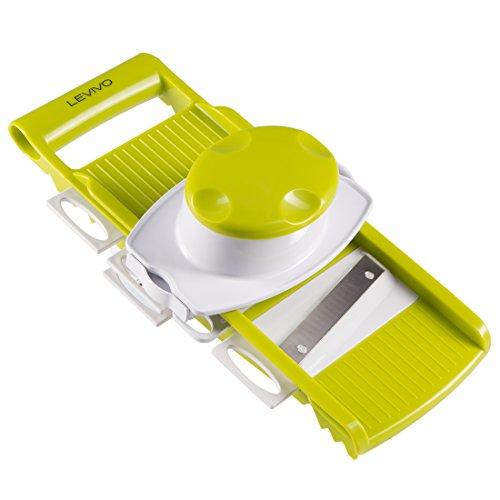 LEVIVO 331800000158 Tagliaverdure, Grattugia Multifunzione con 5 Inserti Intercambiabili, Binaco/Verde, 34.5x19.5x11.5 cm