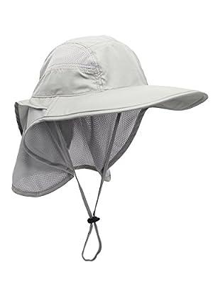 Unisex UV Schutz Sonnenhut mit Nackenschutz 12cm Großer Brim Outdoor Aktivitäten - für Kopfumfang 56-62cm