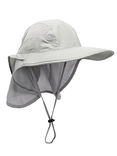 Unisex UV Schutz Sonnenhut mit Nackenschutz 12cm Großer Brim Outdoor Aktivitäten - für Kopfumfang 56-62cm Hellgrau (Große Kappe)