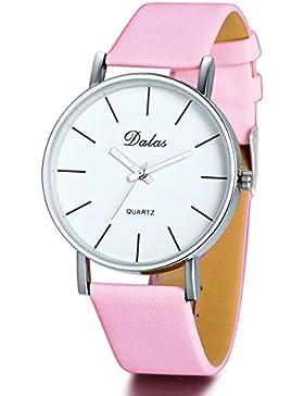 JewelryWe Herren Damen Armbanduhr, Einfach Charm Casual Analog Quarz Leder Armband Uhr mit Weiss Runde Zifferblatt...