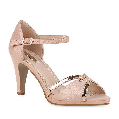 Damen Schuhe Riemchensandaletten High Heels Party Sandaletten 155536 Rosa Lack 37 Flandell Rosa Stiletto Heel