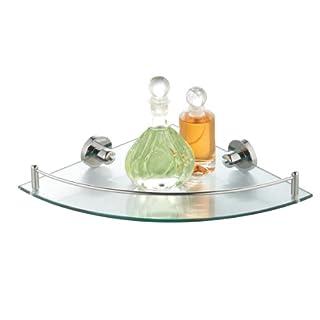 axentia Glass Corner Shelf, Chromed Wall Mounted Shower Caddy, 5 mm Tempered Glass, Single Tier Corner Bath Rack, Storage Shelf Basket for Office, Bathroom and Kitchen, approx. 25 x 35 x 5.7 cm