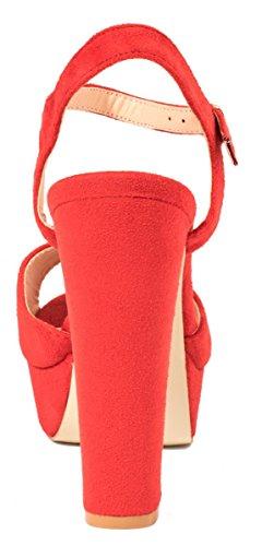 Elara Plateau Pumps | Bequeme Blockabsatz Schuhe | Wildlederoptik Rot