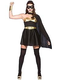 Ladies Black/Gold Avenging Super Hero Fancy Dress Costume