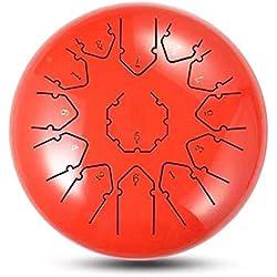 Ritapreaty Tambor de lengüeta de Acero, Instrumento de percusión de Tambor de Mano con mazos de Tambor Bolsa de Transporte 13 Notas 12 Pulgadas para meditación Yoga Zazen Sonido curativo