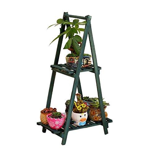 JNYZQ Einfaches faltendes Blumen-Rahmen-Festes Holz-mehrschichtiges Landungs-Blumen-Topf-Regal-Balkon-Innenblumen-Gestell-Retro- Stand (Farbe : Dunkelgrün)