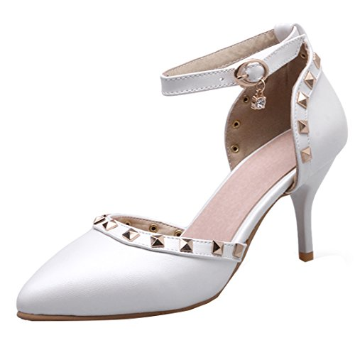 AIYOUMEI Damen Spitz Knöchelriemchen Pumps mit Nieten und 8cm Absatz Stiletto High Heels Elegant Schuhe Weiß