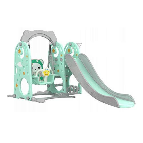 JAYLONG Kinderrutsche Aus Kunststoff, 3 In 1 mit Kletter- und Kletterwand, 1,8 M Superlange Rutsche mit Sicherheitshandlauf und WassergefüLlter Basis, Robustes Spielzeug füR Kinder,Green