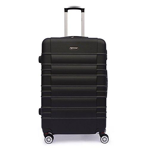 SHAIK SerieCLASSIC JFK Design Hartschalen Trolley, Koffer, Reisekoffer 4 Doppelrollen Zwillingsrollen, Zahlenschloss (Großer Koffer, Schwarz)