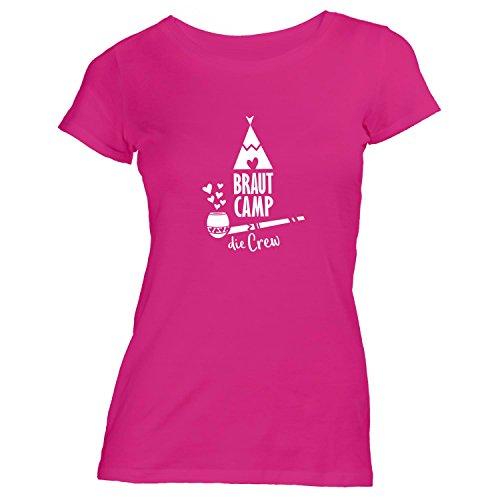 Damen T-Shirt - Junggesellenabschied - BRAUT Camp CREW Smoke - JGA Polterabend Junggesellen Pink