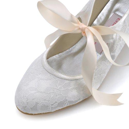 Elegantpark A3039 Ivory Damenschuhe Pumps Runde Zehen Lace Hochzeit Brautschuhe Gr.41 -