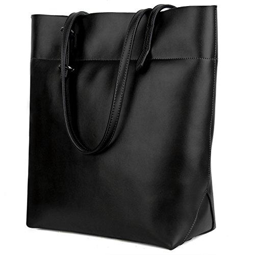 Handtasche Damen YALUXE Echtleder Tasche Umhängetasche Schulter Verstellbare Träger Große Compartent Passt 13 Zoll Laptop Schwarz neu