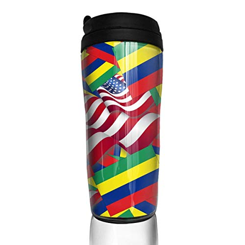 Travel Coffee Mug Mauritius Flag with America Flag 12 Oz Spill Proof Flip Lid Water Bottle Environmental Protection Material ABS
