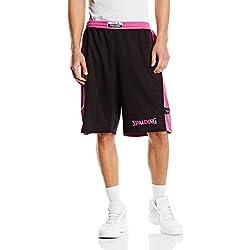 Spalding Bekleidung Teamsport Essential Reversible Shorts - Pantalones cortos de baloncesto para mujer, color negro / rosa, talla S