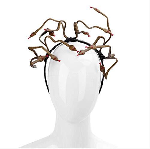 VAWAA Halloween Karneval Brennen Mann Cosplay Kostüm Haar Verschluss Zubehör Tier PVC Beängstigend Medusa Schlange Stirnband (Brennen Kostüm)