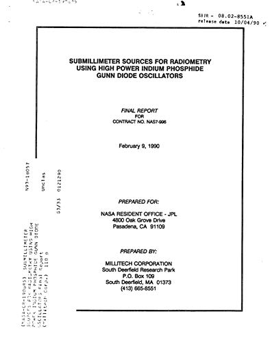 Submillimeter sources for radiometry using high power Indium Phosphide Gunn diode oscillators (English Edition)