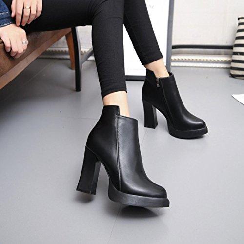 Tefamore Bottes de neige chaude hiver Chaussures de coton Bottes de genou Bottes de femmes Noir